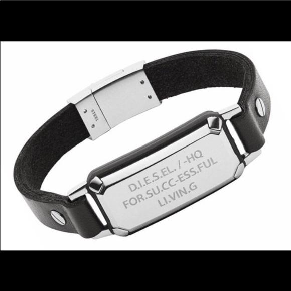 a1bf14aea3fcc Diesel men's leather bracelet NWT